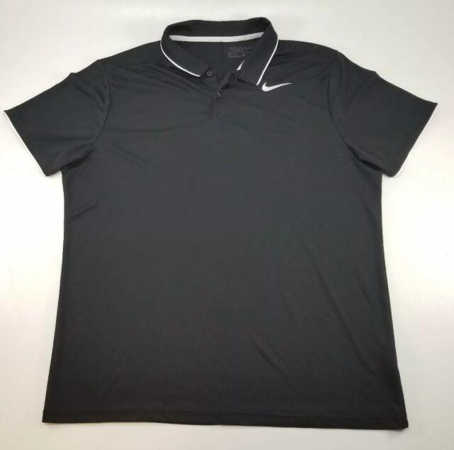 b86783563d Nike Golf Men's Black Standard Fit Dri-Fit Short Sleeve Mesh Polo Shirt