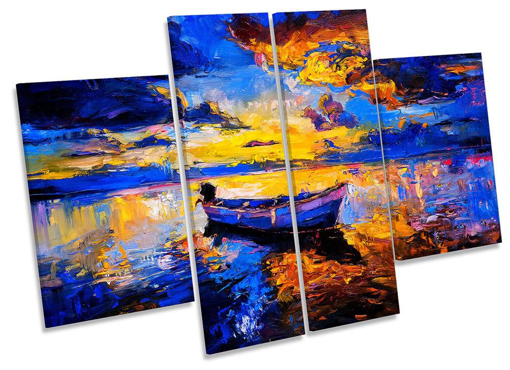 Lienzo Enmarcado Sunset Barco Lago Panel Paisaje Impresión cuatro Panel Lago Pared Arte 55e177