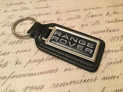 RANGE ROVER Black Real Leather Keyring  Printed resin coated SPORT VELAR EVOQUE