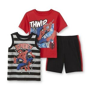 Marvel Spiderman Toddler Boys 2pc Set 2T Mesh T-Shirt Shorts Outfit