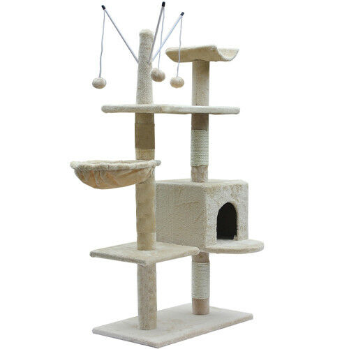 135CM-CAT-TREE-ACTIVITY-CENTRE-SCRATCHER-SCRATCHING-POST-WITH-TOYS-BED-HOME-NEW