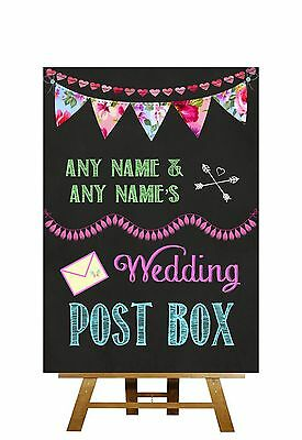 Bright Chalkboard Style Cards Post Box Personalised Wedding Sign
