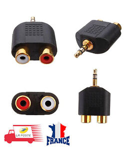 Adaptateur-RCA-vers-Jack-3-5-mm-Stereo-Male-Femelle-Audio-Casque-Ecouter-Hifi