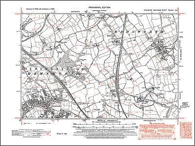 Badsworth Hemsworth 263NE repro old map Yorkshire 1938