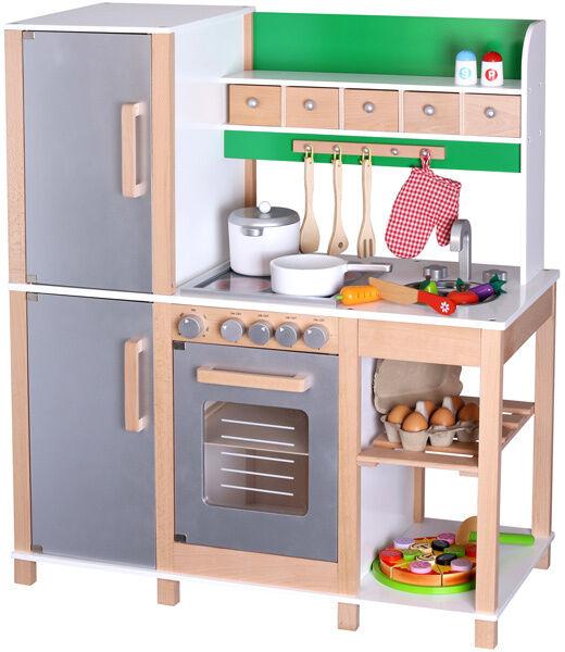 Sun Große Kinderküche aus Holz (Buche-Grün) Holzküche Spielküche Küche Holz NEU