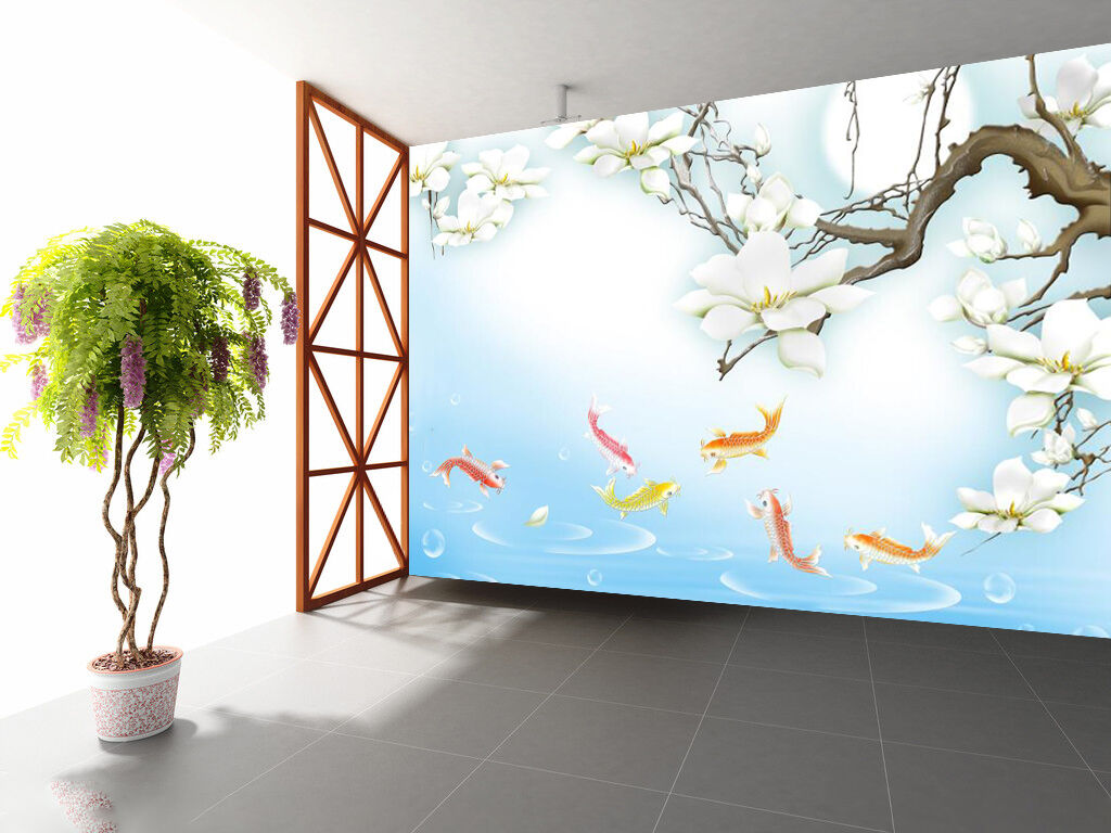 3D Flowers fish 2312 Wall Paper Wall Print Decal Wall Deco Indoor Wall Murals