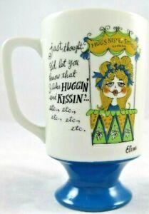 Vintage-Arnart-Huggin-Kissin-Elena-Footed-Blue-Pedestal-Mug-Ceramic-2469-5-034