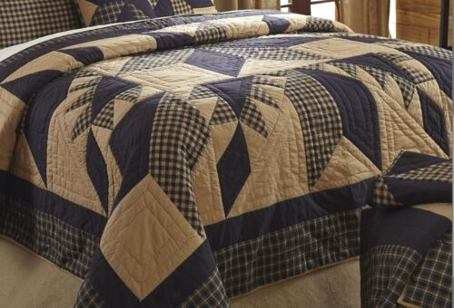 COTTON WESTERN CABIN RUSTIC PATCH COUNTRY DAKOTA BLACK STAR Cal King QUILT
