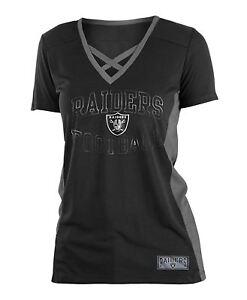 Oakland Raiders T-Shirt V-Neck Logo Arch Polymesh Jersey Tee  35da2648f
