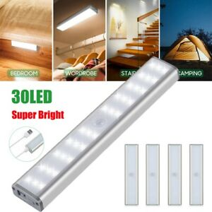30-LED-USB-Rechargeable-Wireless-PIR-Motion-Sensor-Closet-Cabinet-Night-Light-uk
