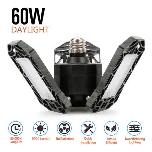 60W E26 6000LM LED Shop Lights For Garage 3 Deformable Panels Ceiling Lights ZE