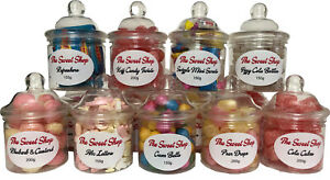 Sweet Shop Retro Gift Jars - Cola Cubes - Koff Candy - Pear Drops - Abc Letters
