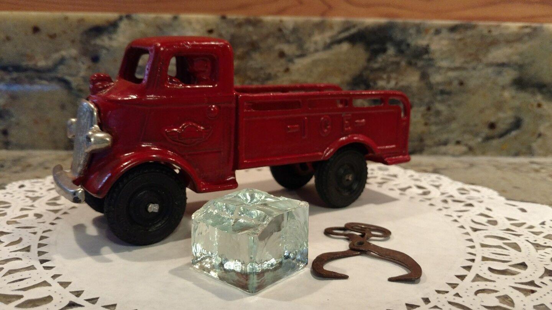 Vintage década de 1930 Arcade camión de hielo con Accesorios