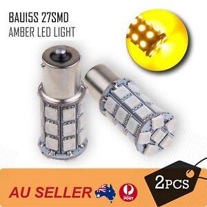 2pcs-12V-BAU15S-27-LED-AMBER-INDICATOR-TURN-SIGNAL-CAR-UTE-4WD-LIGHT-BULB-GLOBE