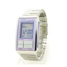 Casio LA201W-6A Ladies Stainless Steel FUTURIST Purple LCD Watch Dual Time NEW