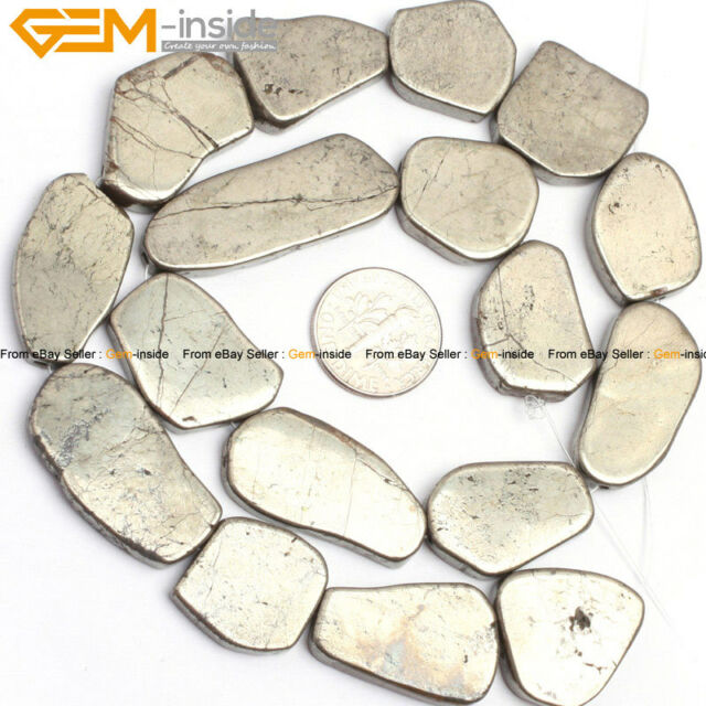 "Freeform flat silver gray pyrite gemstone jewelry making beads 15"" 13-25/30-40mm"