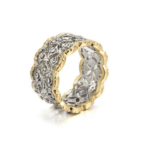 Men Women Shining 925 Silver White Topaz Wedding Band Fashion Ring Gift Sz 6-10
