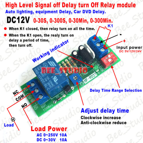 DC 5V 12V 24V Signal Control Suspension Delay Time Turn Off Switch Relay Module