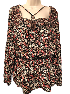 Knox-Rose-Women-039-s-Blouse-Plus-XXL-Floral-Long-Sleeve-Pullover-Top