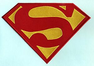 7-034-x-10-034-Embroidered-Dean-Cain-style-Superman-Red-amp-Yellow-Chest-Logo-Patch