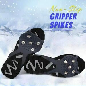 pattnse Universal Non-Slip Gripper Spikes Walk Traction Cleats with Good Elasticity Outdoor Ice Grips for for Boots Shoes Anti-Slip Snow Grips,Silicone Crampons Ice Grips Cleat Shoes Covers