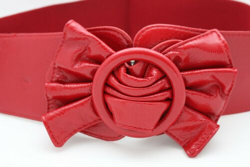 Women Stretch Waistband Red Color Belt Hip High Waist Wide Bow Buckle M L XL