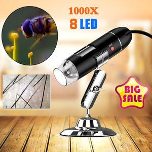 1000X Zoom 8 LED USB Digital Microscope Scalp Hair Analysis Skin Detector Tool 741870030987