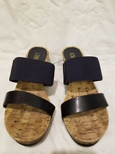 56e5aa2aee87 Image is loading NAVY-CHAPS-WEDGE-SANDALS-8-5-EXCELLENT-CONDITION