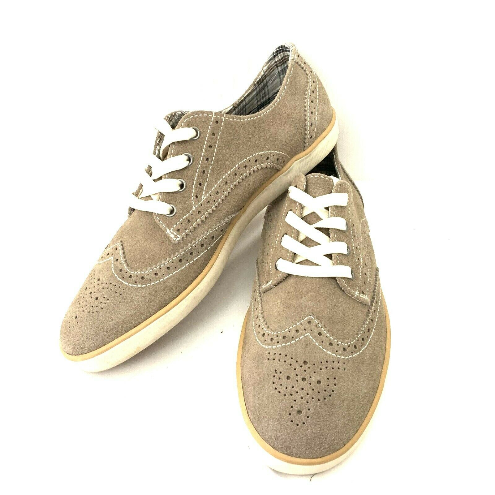 Men's 9.5M Clarks Sutter Tan Suede Leather Wingtip Shoes Sneakers Lace-Up Casual