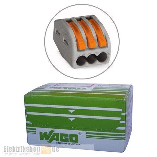 50 Stück 3-Leiter-Klemmen mit Betätigungshebeln 222-413 WAGO Packung Wagoklemmen