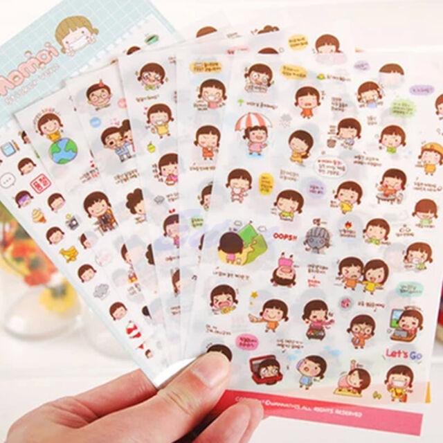 6 Sheets Cartoon Girl Stickers Biscuits Scrapbook Calendar Diary Planner Decor