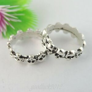 39059-New-Silver-Tone-Alloy-Skull-Ring-Inner-16-16mm-Charms-Jewelry-15PCS