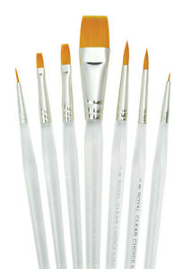 royal clear choice gold taklon artist paint brush sets filbert round