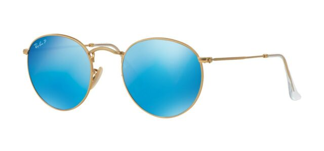 Ray-Ban ROUND METAL RB 3447 Matte Gold/Blue Polarized Flash (112/4L) Sunglasses