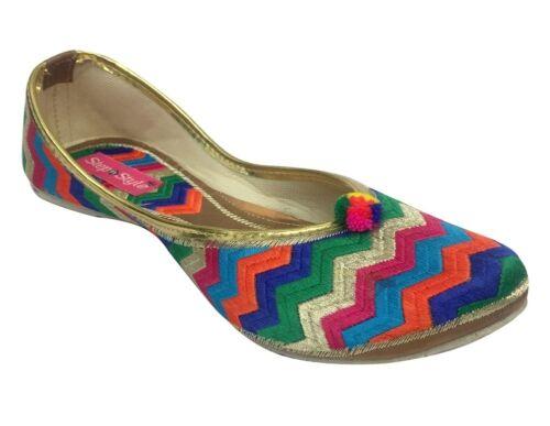UK Beaded Sandals Flat Ballerina Ballet Ethnic Flat Shoe Punjabi Jutties   DD897