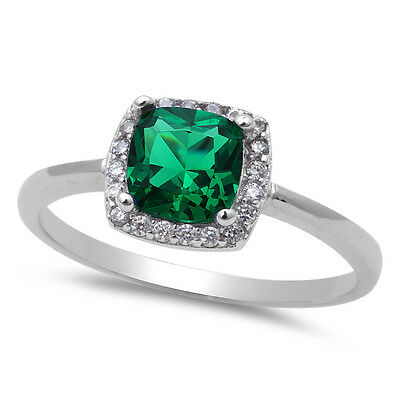 Emerald & Cz Fashion .925 Sterling Silver Ring Sizes 4-10