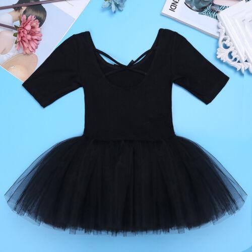 Girls Kids Ballet Tutu Dress Gymnastics Short Sleeve Leotard Dance wear Costumes