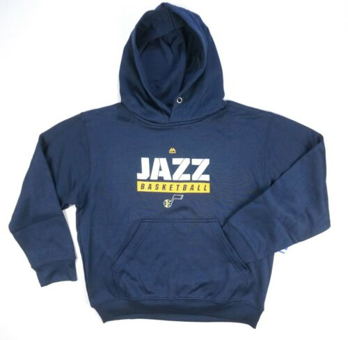 NEW BOYS NBA MAJESTIC NAVY BLUE UTAH JAZZ HOODED SWEATSHIRT SWEATER