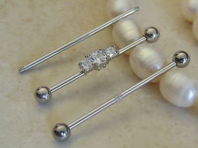 Industrial Barbell With Square Three Gems.