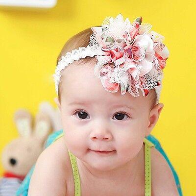 Lovely Baby Girl Children Headband Girl Lace+Gauze Flower Hair Ribbon Hair Band