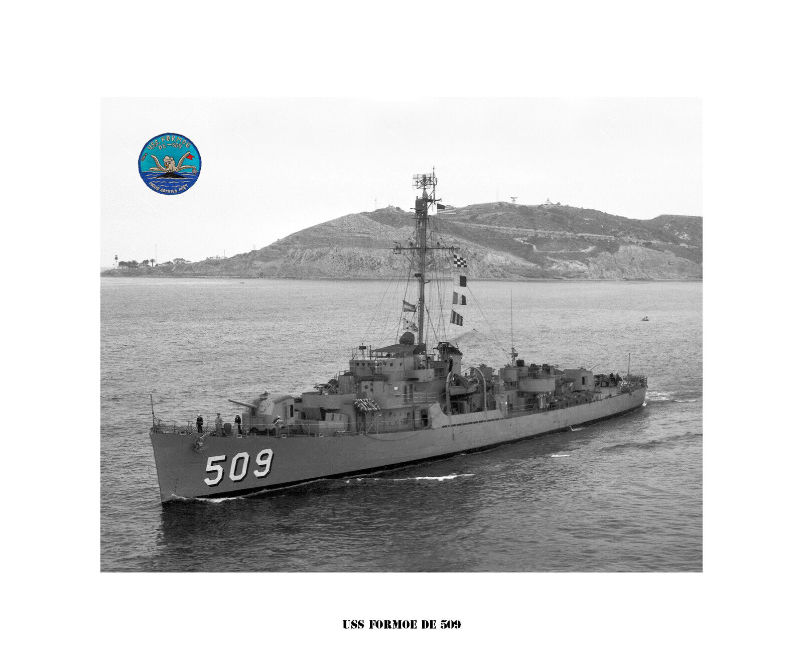 USS FORMOE DE 509  Destroyer Escort, US Ship, USN Navy Photo Print