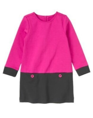 GYMBOREE MERRY /& BRIGHT PINK COLORBLOCK LONG KNIT DRESS 3 4 5 6 7 9 12 NWT