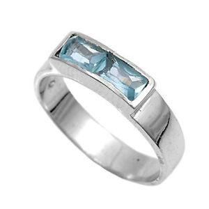 Aquamarine Cz Rectangle Baby Small Ring New .925 Sterling Silver Band Sizes 1-4