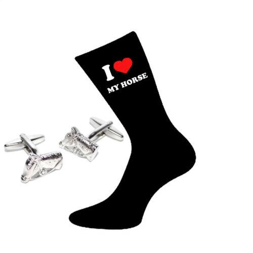 I Love My Horse Socks /& Horses Head Cufflinks Gift Set X6VL033-PSN037
