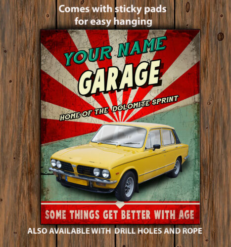 PERSONALISED TRIUMPH DOLOMITE SPRINT GARAGE  Retro Vintage  Metal Wall Sign