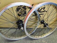 """REVENGE Fit BMX BIKE WHEEL SET CHROME 20"""" RIMS BLACK HUBS 3/8 F 14mm R +GUARD SM"""