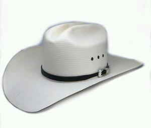 RESISTOL Cream Straw Mens Hat Black Leather Band Size 7 1 8- 57 Long ... 1fb348e69dc