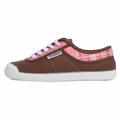 Kawasaki DEV17 scarpe sneakers canvas tela canvas marrone pink check brown