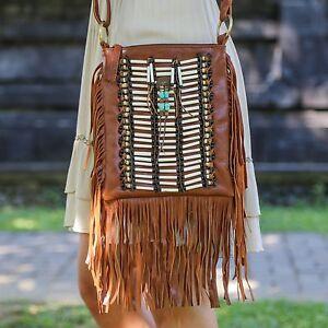 Image Is Loading Boho Bag With Real Leather Fringe Purse Bohemian