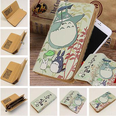 Miyazaki Hayao Ghibli Totoro Long Zipper Leather Wallet Anime Coin Card Purses